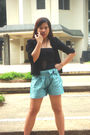 Black-random-blazer-black-top-blue-shorts-black-shoes