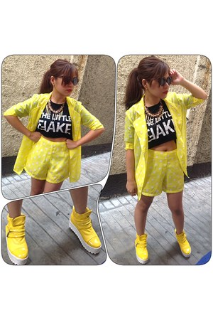 yellow tnc sneakers - sheer polka dot tnc blazer - tnc shirt