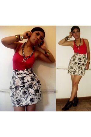 Bershka top - G&G online shop skirt - skull and chain diy necklace - random bran