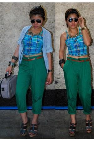 Valentino bag - Juan wedges - green brandsforlessmultiplycom pants - cropped bus