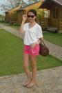White-bench-mens-t-shirt-pink-mng-shorts-black-rayban-wayfarer-sunglasses-