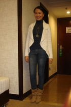 white MNG sweater - blue zara turtleneck top - jeans - brown boots - taiwan bicy
