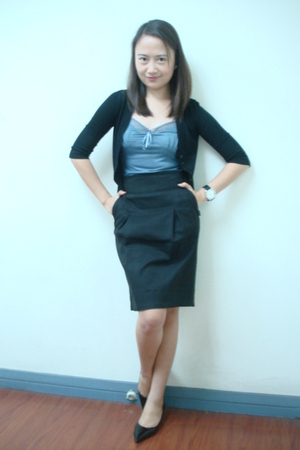 black cardigan - Mango top - Mango skirt - charles&amp;keith shoes - Aldo watch
