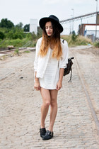 knitted H&M dress - leather studs Sacha shoes - OASAP hat - backack moms bag