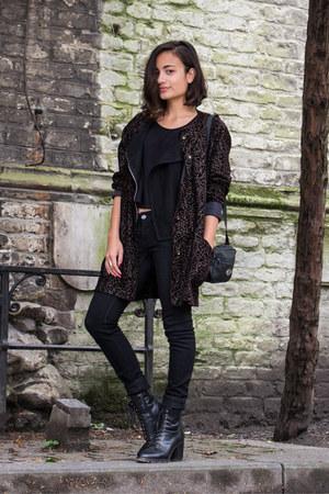 black velvet glitter thrifted coat - leather River Island boots