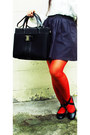 Black-ballerina-b-club-flats-red-knitted-opaque-kate-torralba-tights