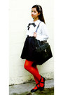 Red-knitted-opaque-kate-torralba-tights-black-jovanni-bag-white-sheer-top