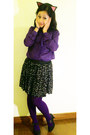 Deep-purple-sheer-blazer-purple-knitted-kate-torralba-tights