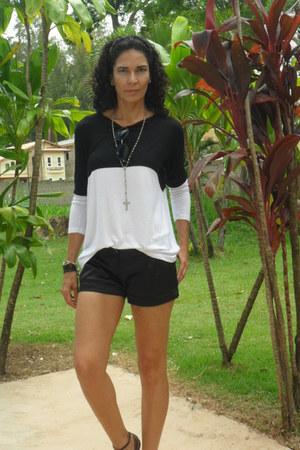 black Renner shorts - Zara shirt - silver Zara flats - black Forever 21 ring