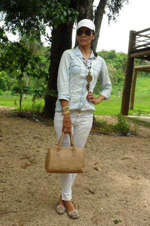 blue Stradivarius shirt - camel Mango bag - white Zara pants