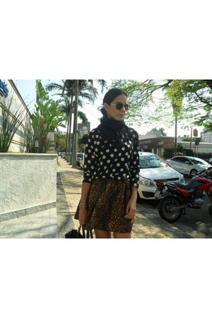 black Zara blouse - dark brown Zara skirt