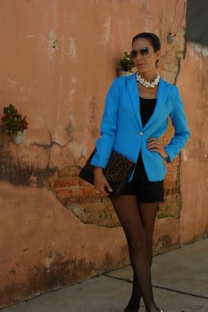 turquoise blue Forever 21 blazer - black romwe shorts