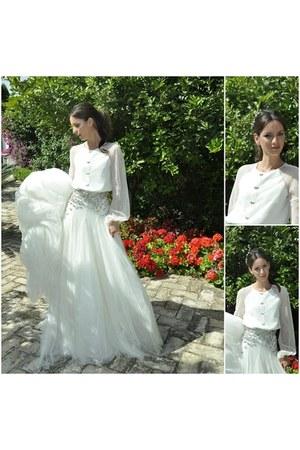 white silk tulle Roberto Diz dress