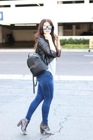 Angl blazer - booties BedStu boots - denim Dear John jeans - Henri Bendel bag
