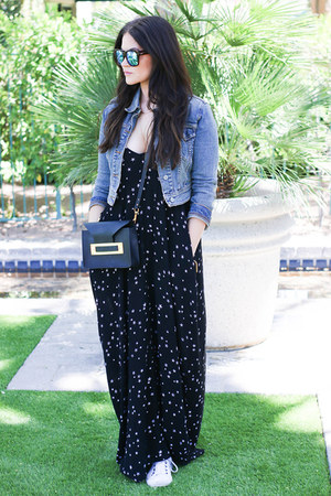 black LoveStich dress - denim Vintage Levis jacket - black Sophie Hulme bag