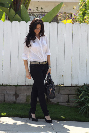 J Brand jeans - balenciaga bag - Nine West pumps - Old Navy top