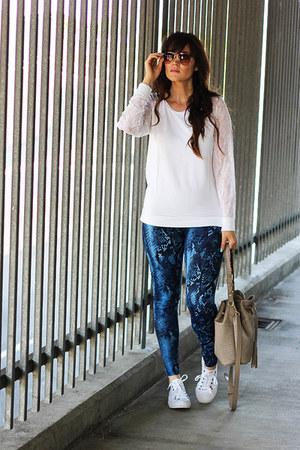 blouse - leggings - bag - sunglasses - sneakers