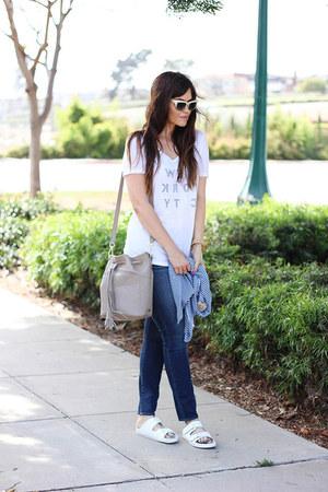necklace - shoes - jeans - jacket - bag - t-shirt