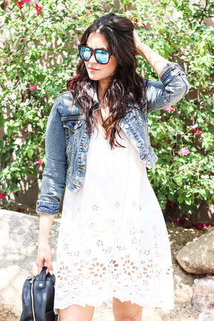 black Henri Bendel bag - white LoveStich dress - denim Levis jacket
