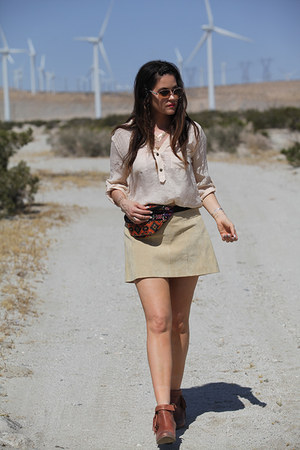 fanny pack bag - brown booties boots - blouse - skirt
