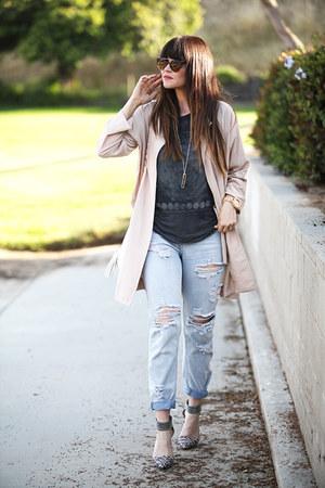 bag - coat - jeans - heels