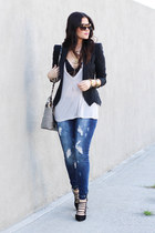 Elizabeth and James blazer - YMI jeans - Henri Bendel bag - tony bianco heels