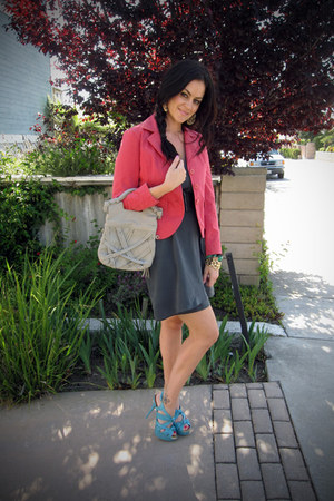 H&M dress - gifted jacket - foley  corinna bag - DIY heels