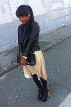 black Uniqlo stockings - H&M dress - leather black Forever21 jacket