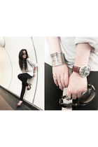 gray Mango top - black supre leggings - brown Gucci sunglasses