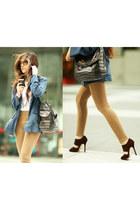camel Topshop leggings - blue YSL bag - brown Jimmy Choo heels