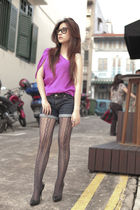 pink Body and Soul blouse - blue cotton on shorts - gray Zara stockings - black