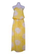 AUSTRALIAN DESIGNER Boho Chic Yellow Flower Spot Pouch Summer Maxi Dress