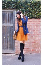 burnt orange black collar Lollipop dress - navy gold buttons Lulu & Rose blazer