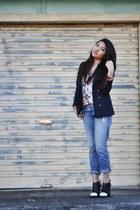 caroline Alexander Wang boots - J Brand jeans - floral Zara blouse