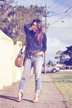 J Brand jeans - navy cable knit Glassons sweater - Zara blouse