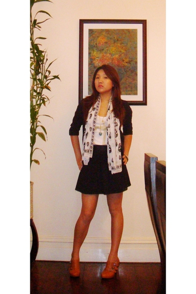Lulu & Rose skirt - supre top - cotton on blazer - - scarf - Nu boots - Kenneth