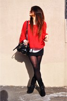 red Sportsgirl sweater - black Prada bag