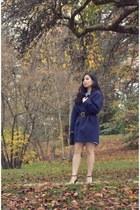 navy Zara coat - sky blue Zara dress - black Miu Miu bag - light pink Zara heels