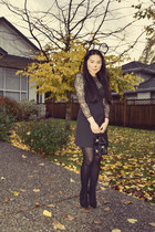 black Zara boots - black Zara dress - black Forever 21 hair accessory