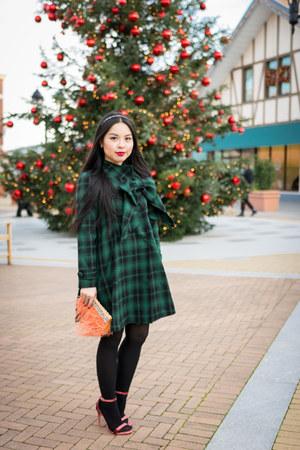 dark green tartan plaid Chicwish dress - peach velvet Public desire heels