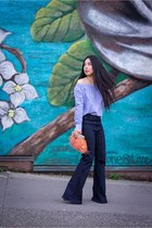 sky blue Zara top - light orange feather clutch Anthropologie bag