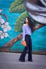 Light-orange-feather-clutch-anthropologie-bag-sky-blue-zara-top