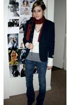 vintage boys blazer - New York & Company scarf - Express sweater - American Appa