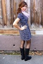 Forever 21 dress - light purple Bebe scarf - Bebe tights - black boots