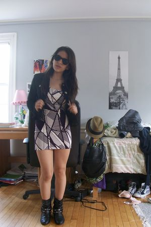 purple Forever 21 dress - black Forever 21 jacket - black Chinese Laundry boots
