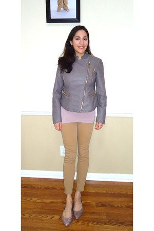 heather gray faux leather Kenzo jacket - camel Old Navy jeans