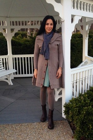 dark brown BCBG boots - puce coat Anthropologie sweater - violet DIY scarf