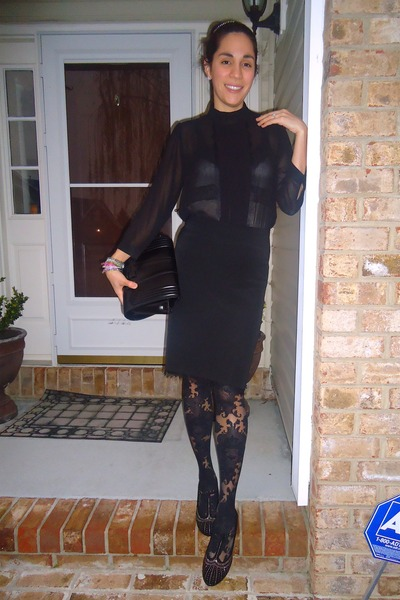 black Zara bag - black Anthropologie stockings - black thrifted vintage skirt