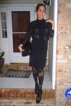 black Zara bag - black Anthropologie stockings - black thrifted vintage skirt