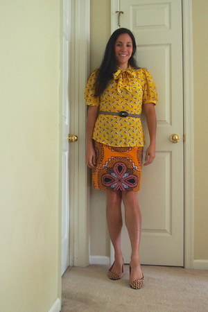 mustard Antrhopologie blouse - orange Anthropologie skirt